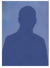 Dark silhouette superimposed on a blue background.