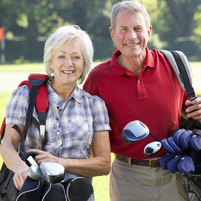 Account Protection Senior Couple Golfing