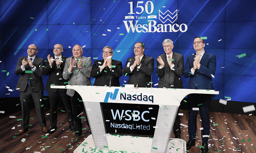 WesBanco executives at Nasdaq closing bell ceremony