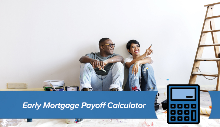 Young woman and man resting after painting wall. The words Early Mortgage Payoff Calculator in blue banner in the foreground.