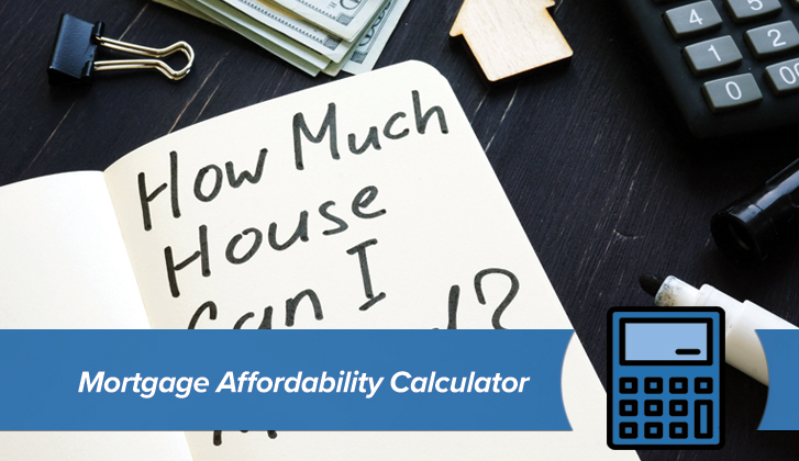 Dollar bills, a wooden token in the shape of a house, and a calculator sit next to an open notebook with the words How Much House Can I Buy?. The words Mortgage Affordability Calculator in blue banner in the foreground.
