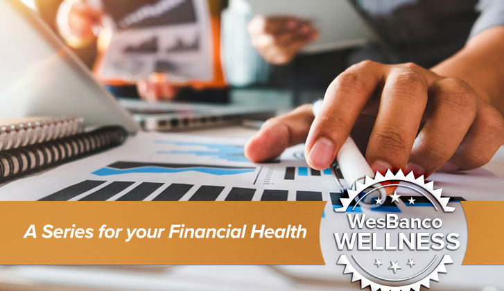 A gentleman marks the words he's reading from a document with his hand. The words A Series for your Financial Health in orange banner in the foreground.