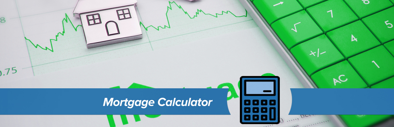 A metal token in the shape of a house, a calculator with green keys, and a spreadsheet with a line chart highlighted in green. The words Mortgage Calculator in blue banner in the foreground.