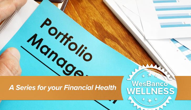 close-up of portfolio management papers