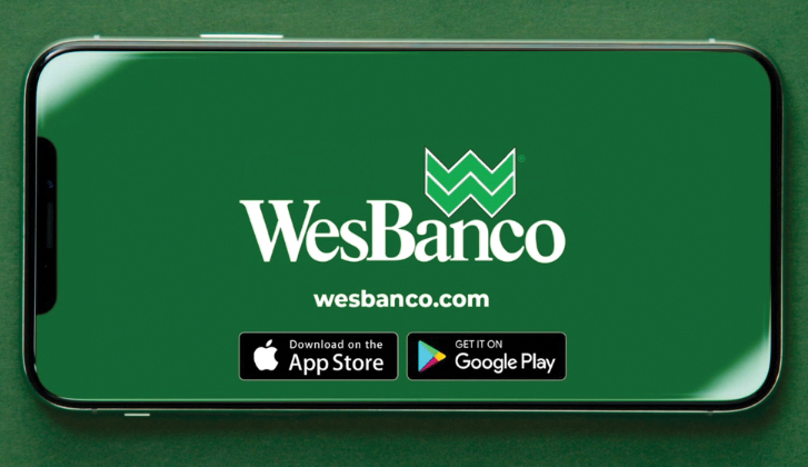 A smartphone screen with the WesBanco logo inside the display.