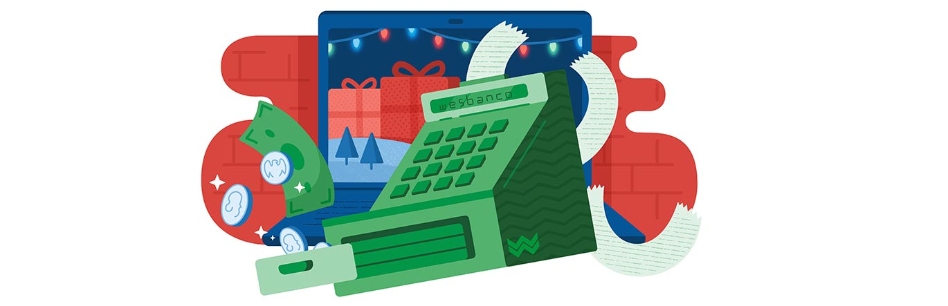 Cash register with holiday decorations in th background