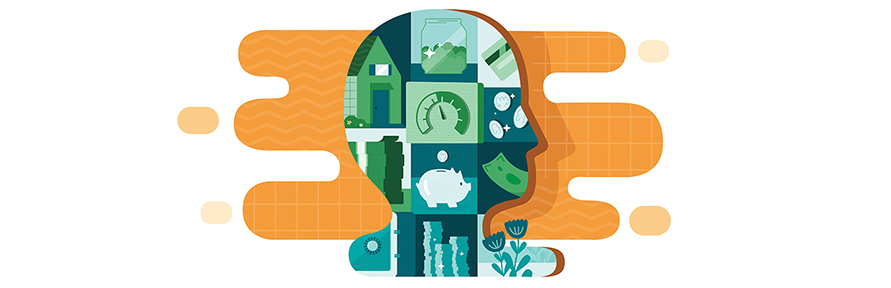 Outline of a human head, inside are green financial icons like a piggy bank, coins, financial card, and a home.