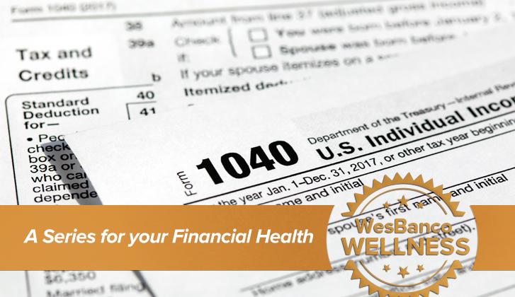 WesBanco Wellness: image of tax form 1040